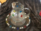 Clear Ball Shaped Lipped Pitcher w Underplate  Metal Swirls  Colored Stones