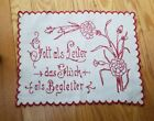 Antique Red and White German Needlework Picture