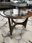 Mid-Century Modern Lane Adrian Pearsall Walnut Glass Round Coffee Table Sculpted
