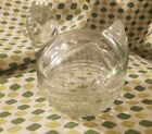 VINTAGE ANCHOR HOCKING CLEAR HEAVY GLASS HEN ON BASKET TRINKET DISH MINT