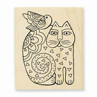 STAMPENDOUS FELINE FRIEND Wood Mounted Stamp by Laurael Burch FREE SHIPPING
