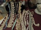 ANTIQUE HAND CROCHETED TRIM EDGES OR DOILEY PARTS LOT OF 12 PIECES