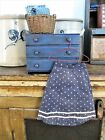 Early Antique Doll Skirt Indigo Calico Treadle Machine and Handstitched