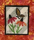 CONEFLOWER N BUTTERFLY MINI QUILT TOP BLOCK SQUARE MOTHERS DAY