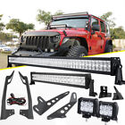 For Jeep Wrangler JK 52 700W +22 LED Light bar+Mount Bracket +18W Pods Sahara