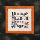 LIFE AND PRAYER EMBROIDERIED MINI QUILT TOP BLOCK SQUARE
