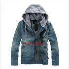 Spring Mens Vintage Denim Hooded Jean Jacket Coat Outwear Stylish Slim Fit HOT