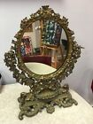 Antique Ornate Brass Vanity Mirror With Shell Lipstick Holder