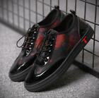 Mens Mixed Color Breathable Lace Up Shoes Patent Leather Casual Sneakers Pumps