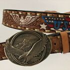 VTG Leather Eagle USA Hammered Cowboy Western Jeans Belt  Brass Buckle Mexico