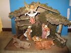 FONTANINI HEIRLOOM NATIVITY 8 PIECE FIGURE SET + STABLE BY ROMAN IN ORIG BOX