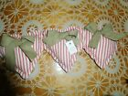 PRIMITIVE VALENTINE'S DAY RED TICKING  HEARTS (SET OF 3 ,7 IN)  BOWL FILLERS