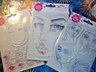 NEW Jane Davenports FACES Lot of 3 Acrylic Stamp Sets Mixed Media Art +Gift