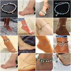 Boho Ankle Bracelet Silver Tone Womens Fashion Beaded Adjustable Beach Anklet