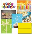 36 Pcs Happy Birthday Greeting Cards Design Assorted Lot Set + Yellow Envelopes