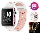 White Pink Wristband Apple Watch Replacement Band 38mm Silicone Sport Strap