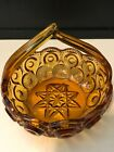 Vintage Depression Glass Moon and Stars Candy Dish with Handle Flat Bottom