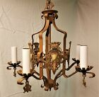 Vintage Spanish Revival Polychrome Wrought Iron 5 Light Chandelier~Works