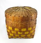 NATIVE AMERICAN ARNOLD FAMILY ANTIQUE 1840'S NIPMUCK LIDDED BASKET, GRAFTON, MA
