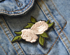 White Rose Leaves Iron on Applique Embroidered Patch Fabric Craft Sew