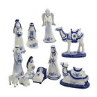 KURT ADLER DELFT BLUE PORCELAIN 11 PIECE NATIVITY SET 197 67 CHRISTMAS DECOR