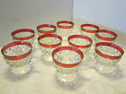 Vintage Indiana Glass Kings Crown Diamond 10 Punch Cups w/ handle footed Retro