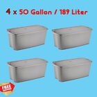 4 Pc Large Grey 50 Gallon Plastic Storage Containers Stacking Bin Box Tote W Lid