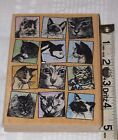 KITTY TILES Rubber Hampton Art Stamp Kitten Cats Faces Diffusion by Jill Meyer