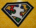 AUTISM SUPERMAN AWARENESS MOTORCYCLE BIKER EMBROIDERED VEST PATCH IRON ON