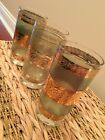 Vintage 22K gold green Culver Starlyte 1960's drinking glasses tumblers set of 3