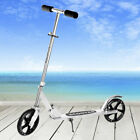 Folding Kick Scooter Adult Kids 2 200mm Big PU Wheels Portable Adjustable Silver
