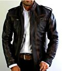 Mens Biker Motorcycle Vintage Cafe Racer Distressed Black Real Leather Jacket