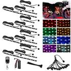 12xLED RGB Color Motorcycle Accent Engine Ground Wheel Strip Light Bar Kit 72LED