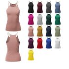 FashionOutfit Women's Solid High Neck Racer-Back Ribbed Spaghetti Strap Tank Top