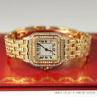 CARTIER PANTHERE FULL 5.08CTW DIAMOND YELLOW GOLD WATCH W/ PAPERS