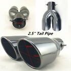 1set Black Stainless Steel Dual Exhaust Tip 25 Inlet Car Muffler Tail Pipe New