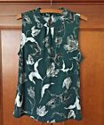 BANANA REPUBLIC Dark Green Floral Keyhole Sleeveless Mock Neck Stretch Top S