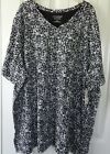 Catherines Black  White Coral Reef Tunic 100 Cotton V Neck Short Sleeves