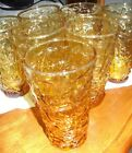 7 Anchor Hocking Lido Milano Gold Amber Glasses Flat Tumblers 12 ounces-Exc