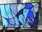 STAINED GLASS WINDOW PANEL BLUE FISH ON SALE