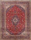 Sumptuous Colorful Floral Red 10x13 Wool Kashan Persian Oriental Area Rug Carpet