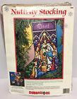 Dimensions Christmas Needlepoint Stocking Kit Nativity Stained Glass 9092 1984