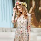 Women Boho Cotton Dress Embroidered Lace Floral Long Sheer Mesh Party Dress US