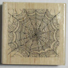 Stampabilities Wood Mounted Rubber Stamp Halloween ELEGANT SPIDER WEB