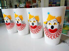 Adorable Colorful Hazel Atlas Platonite Milk Glass Clown Face Tumblers Set of 4
