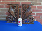 PAIR FRENCH CARVED OAK CRANES BIRDS SALVAGED CORBELS BRACKETS BOOKENDS PEDIMENT