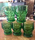5 Vintage Anchor Hocking Georgian Shamrock Green Tumbler Glasses 9 oz.