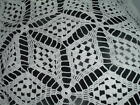 Vintage White Cotton Hand Crocheted Bed Or Table Cloth 56
