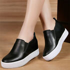 New Womens Cow Leather Fashion Sneakers Slip On Platform Wedge Hidden Oxfords