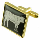 Gold Butcher Chef Cow Cuts Of Beed Cufflinks With Pouch